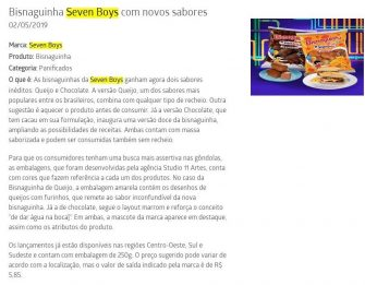 Bisnaguinha Seven Boys com novos sabores