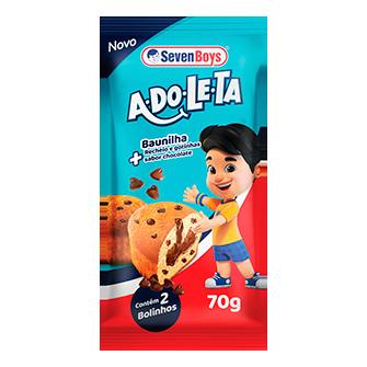 BOLINHO SABOR BAUNILHA COM GOTAS SABOR CHOCOLATE E RECHEIO SABOR BRIGADEIRO